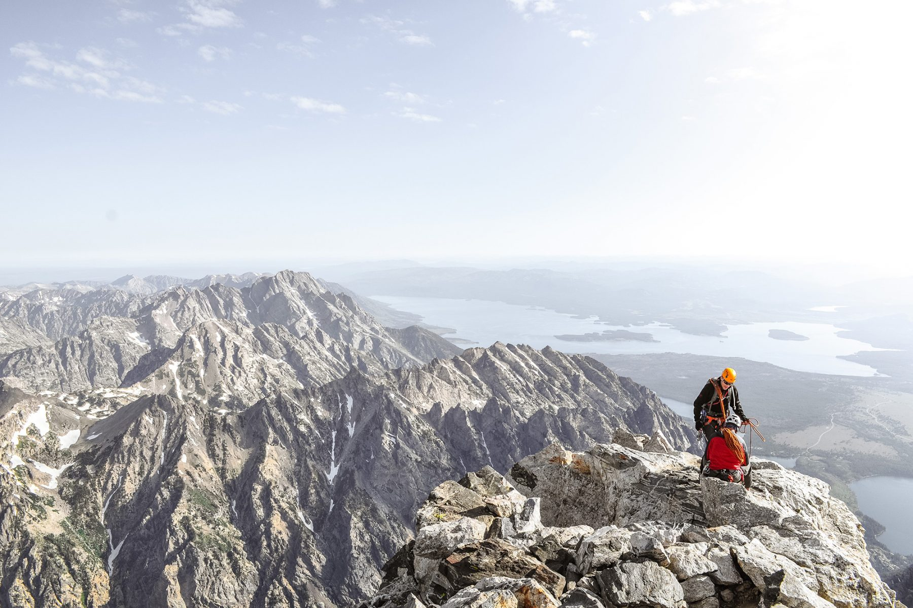climbers on top of mountain at Grand Teton National Park