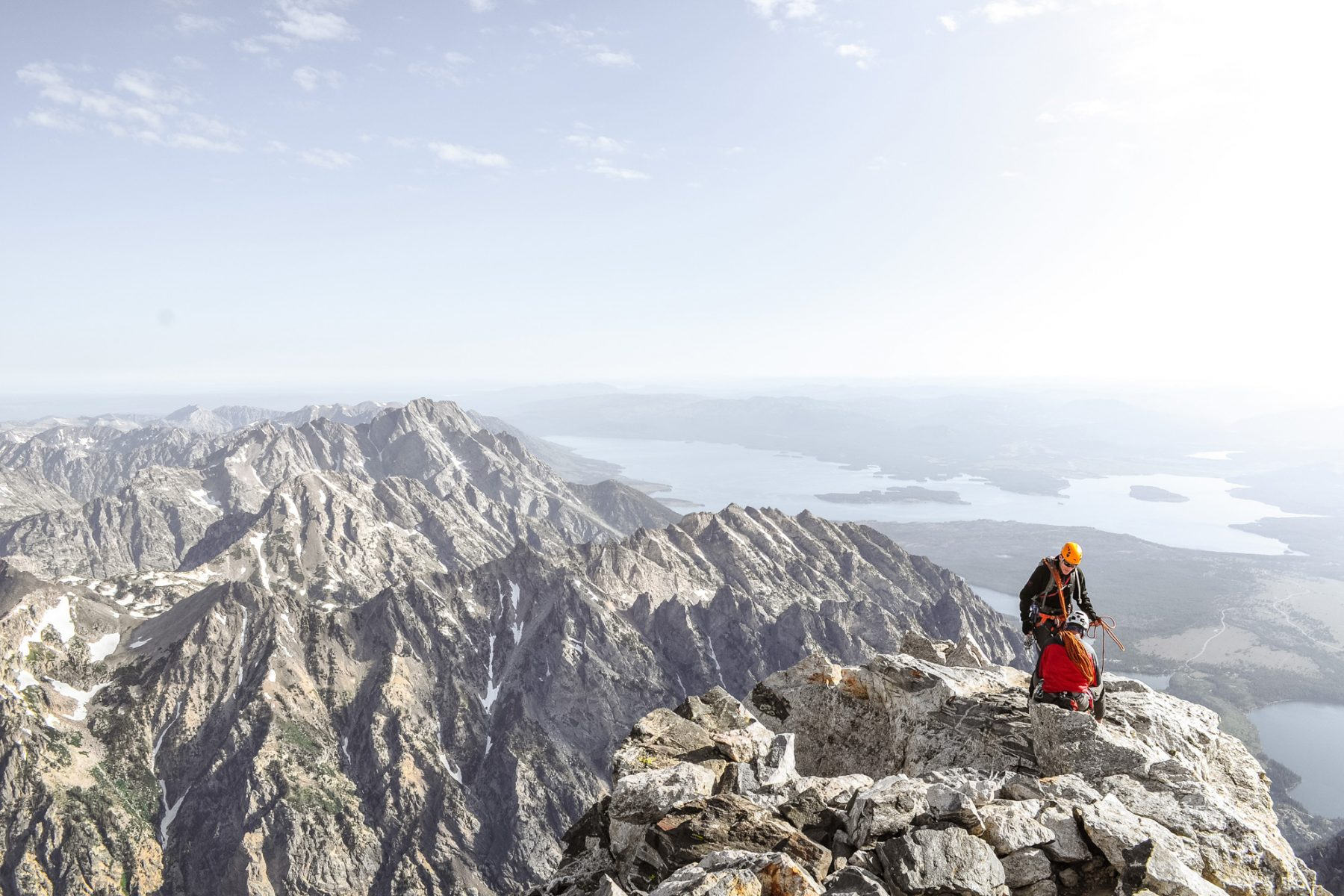 Climbers at top of mountain in Grand Teton National Park