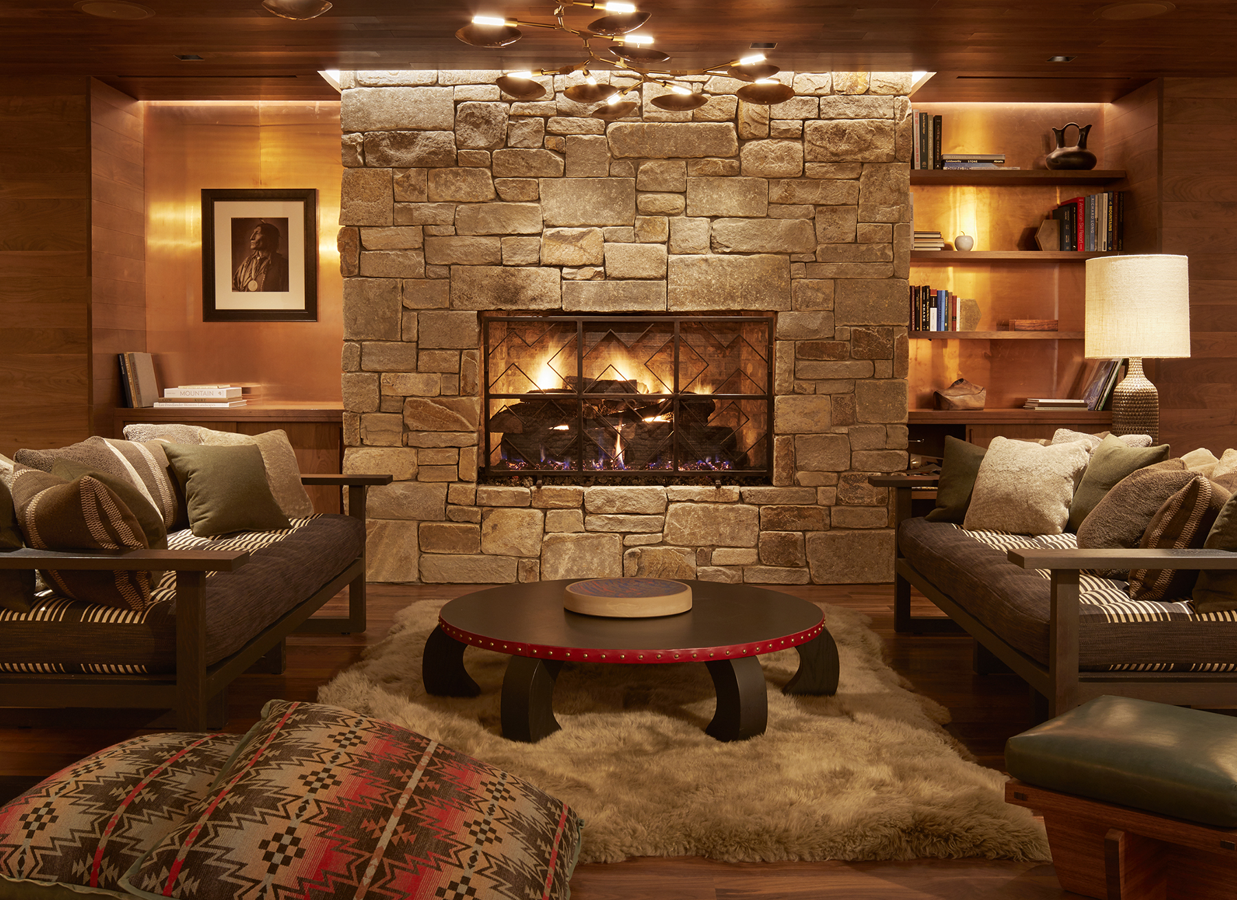 lobby area with fireplace and couches