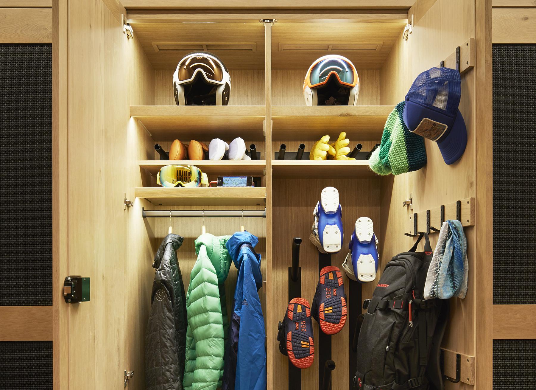 close-up of locker with ski gear