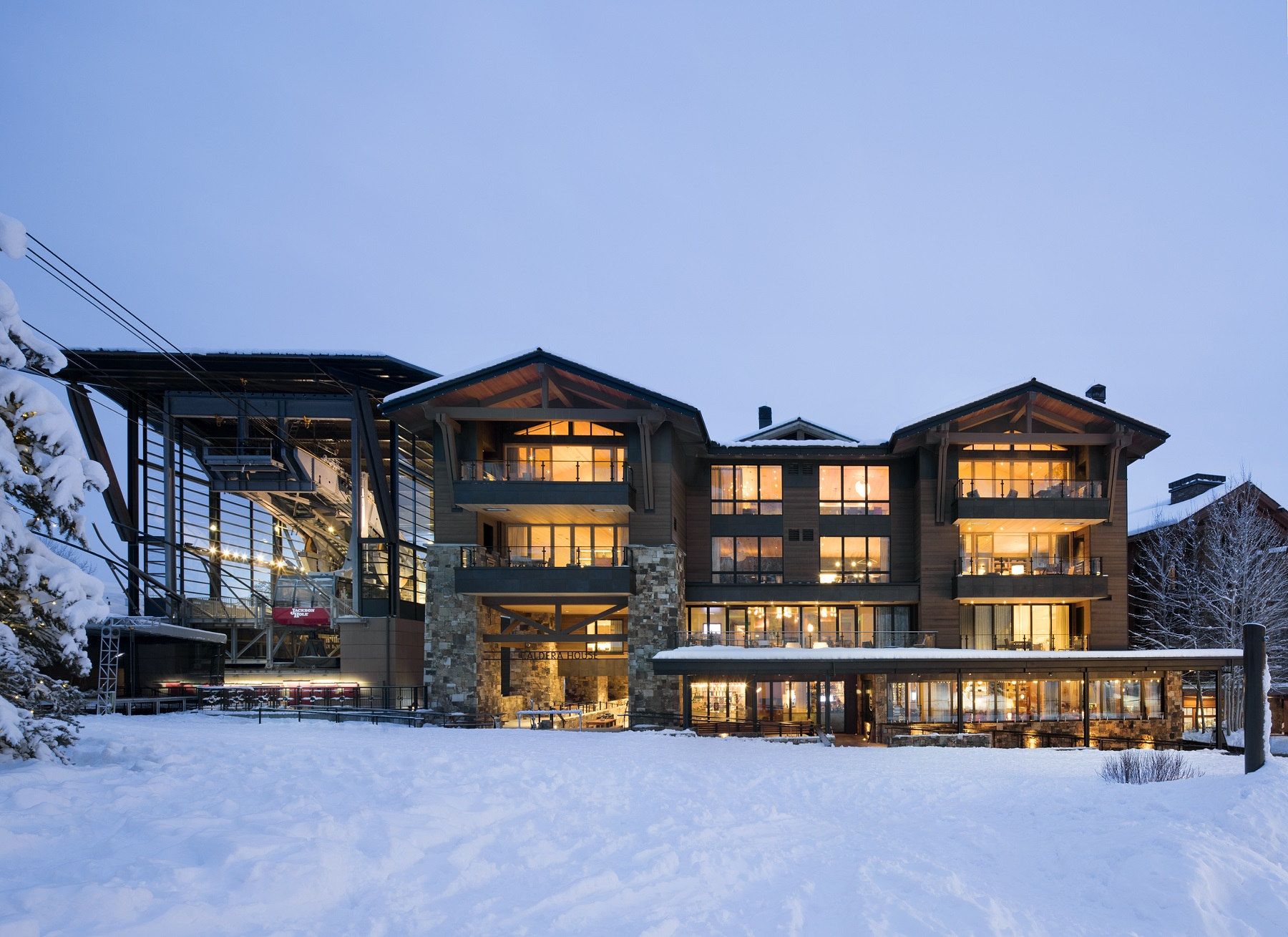 outdoor view of caldera house with snow on the ground